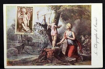 """877 Der """"telegraph"""" L Amour Karte Maximum 1951 Fdc Frankreich Vb202 Ausgezeichnet Im Kisseneffekt"""