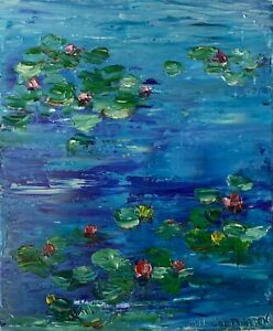 Original-oil-painting-art-on-canvas-Waterlilies-impressionism-blue-home-decor
