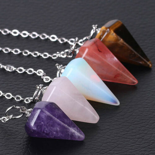 Piedra natural 1pc Cristal de Cuarzo talladas con punta hexagonal Reiki Chakras Colgante Péndulo