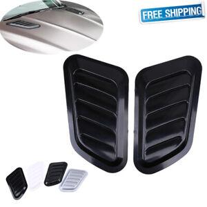 Universal Car Air Flow Intake Scoop Turbo Bonnet Vent Cover Sticker Hood Black Air Flow Vent Hood Scoop Silver