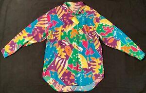 NWT-VTG-80s-90s-Esprit-Sport-Neon-Multicolor-Marmeladen-Hawaii-Style-Viskose-Shirt-L