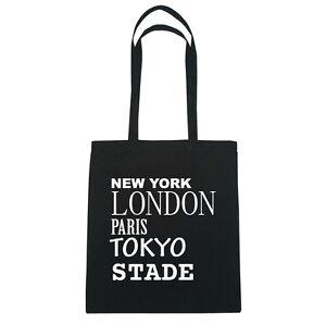New York, London, Paris, Tokyo STADE - Jutebeutel Tasche - Farbe: schwarz