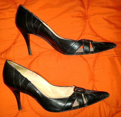 Shoes 8 Black Solo Faith Front £60 Vintage Orig Stiletto Cut Out Leather Style qzpwH5pv