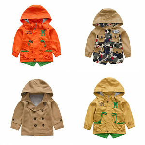 b77df9c699ba Toddler Boy Trench Coat Wind Coat Double Breasted  Zip Up Jacket ...