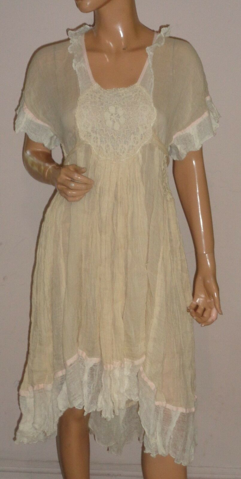 SESTRA MOJA  IVORY CREAM ROMANTIC CHEESE CLOTH  JANINE  PEASANT DRESS NWT SZ S