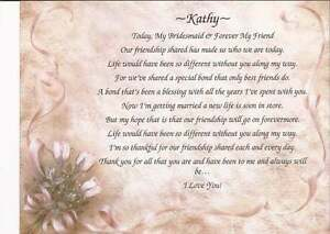 personalized poem for bridesmaid maid of honor wedding party