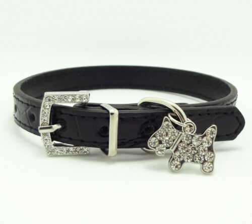 Gator LeatherDog Cat Puppy Collar Rhinestone Buckle Collars Dog Pendants Charm