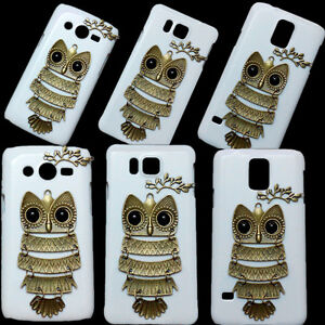 3D-Cute-Unique-Fashion-Retro-Branch-Leaves-Owl-Hard-Back-Case-Cover-For-Sony-LG