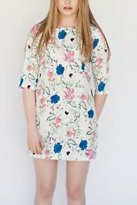 Darling-London-White-Floral-Print-Tunic-Dress-Summer-Size-14