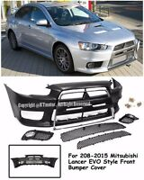 Evo X 10 Jdm Style Front Chrome Trim Bumper Cover For 08-15 Mitsubishi Lancer