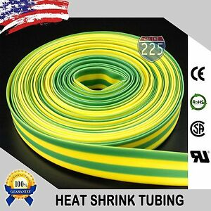"100 FT. 100' Feet GREEN + YELLOW 3/16"" 5mm Polyolefin 2:1 Heat Shrink Tubing US"