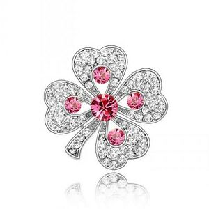 PRETTY-WHITE-GOLD-PLATED-AND-PINK-GENUINE-CZ-amp-AUSTRIAN-CRYSTAL-SHAMROCK-BROOCH
