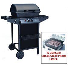 BARBECUE BBQ A GAS PIETRA LAVICA CON FORNELLO DOPPIA GRIGLIA E BRUCIATORE