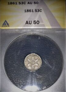 1861 Three Cent Silver, ANACS AU50, Civil War ERA, Issue Free