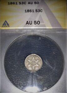 1861 Three Cent Silver, ANACS AU50, Civil War ERA, Issue Free