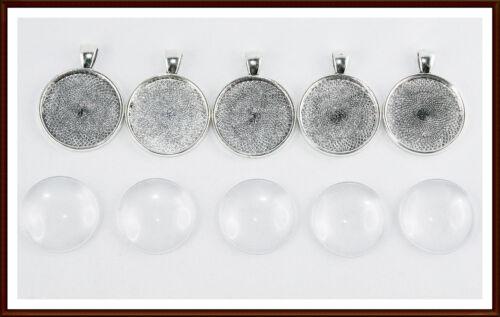 5 2 10 x Schmuckanhänger Fassung inklusive Cabochons Glas 25 mm Silber Rund