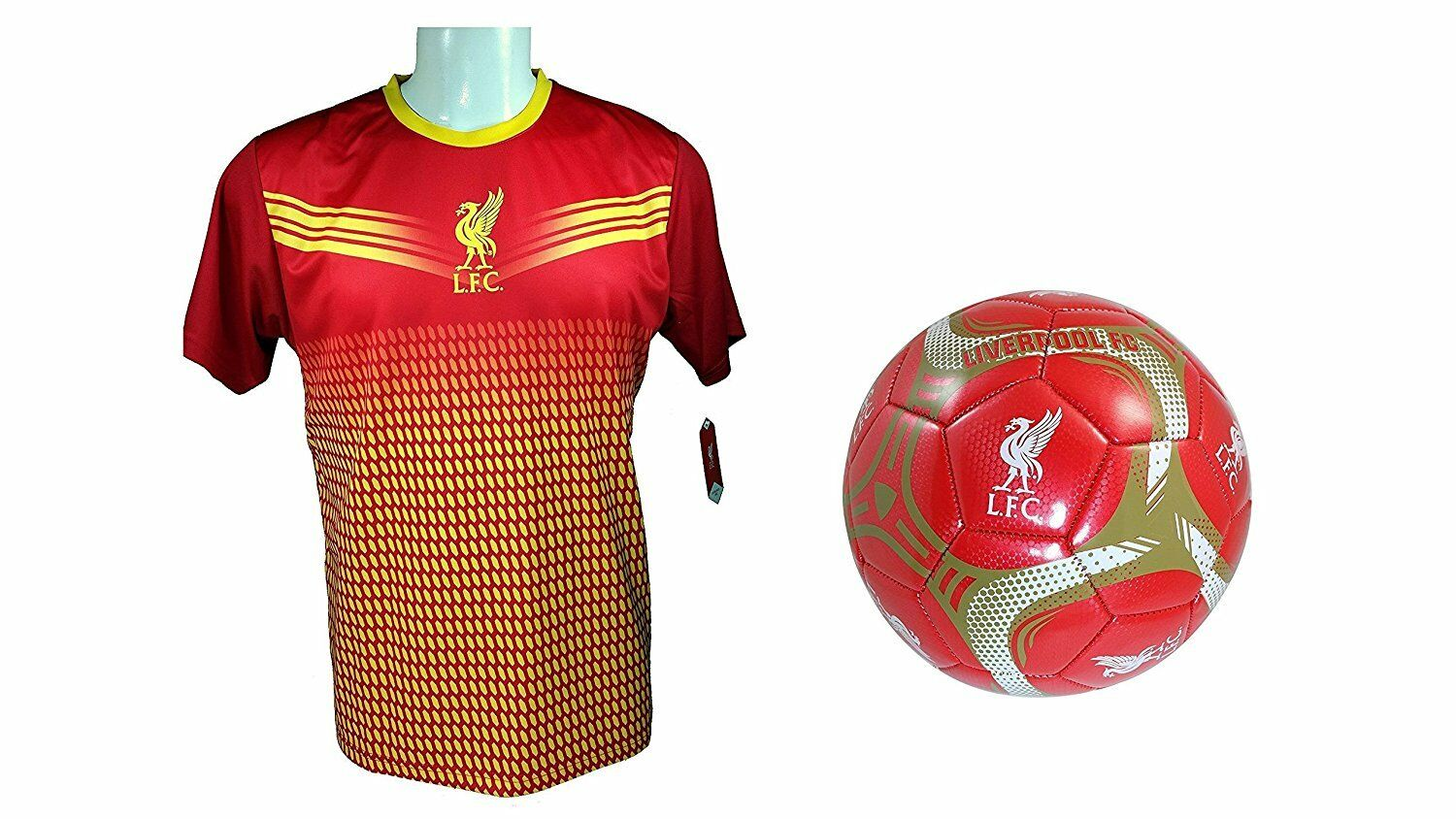 Liverpool F.C. Soccer Official Soccer Training Jersey & Size 5 Ball Combo -33 S