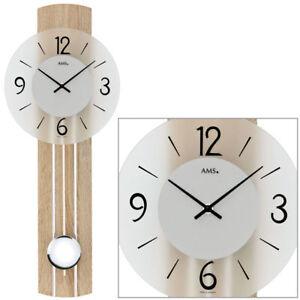 Uhren & Schmuck Weitere Uhren Ams 7274 Wanduhr Quarz Mit Pendel Holzrückwand Mineralglas Volumen Groß