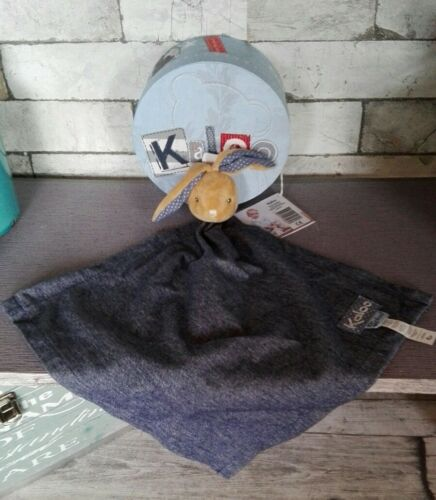Maxi Doudou Lapin KALOO Blue Jean Denim Mouchoir Plat Bleu foncé Neuf + cadeau