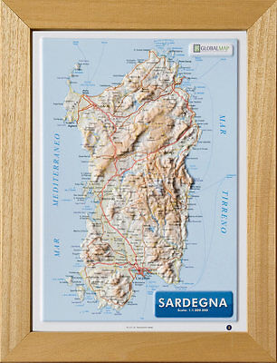 Cartina Sardegna Rilievo.Sardegna Carta In Rilievo 21x30 Cm Con Cornice Cartina Mappa Poster Global Ebay