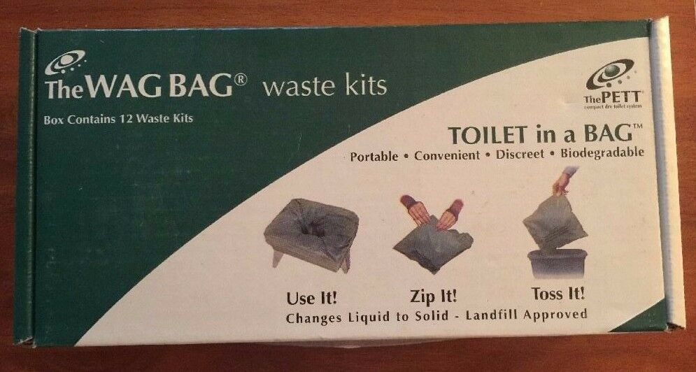 Pett Wag Bags GO ANYWHERE Waste Kits Camp Toilet Box of 12 pkgs clean waste