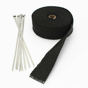 Details about 5M Fiberglass Exhaust muffler Header Pipe Heat Wrap Tape  Cloth Tie Kit Black NEW