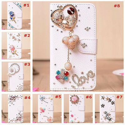 Bling Crystal Diamonds Pearls PU leather flip slots stand wallet case cover #a
