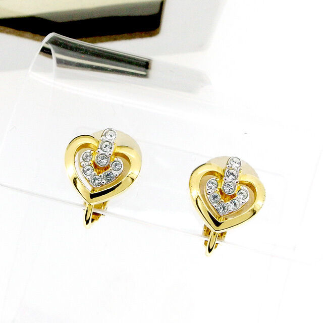 SWAROVSKI Earrings clear gold Woman Authentic Used T2066