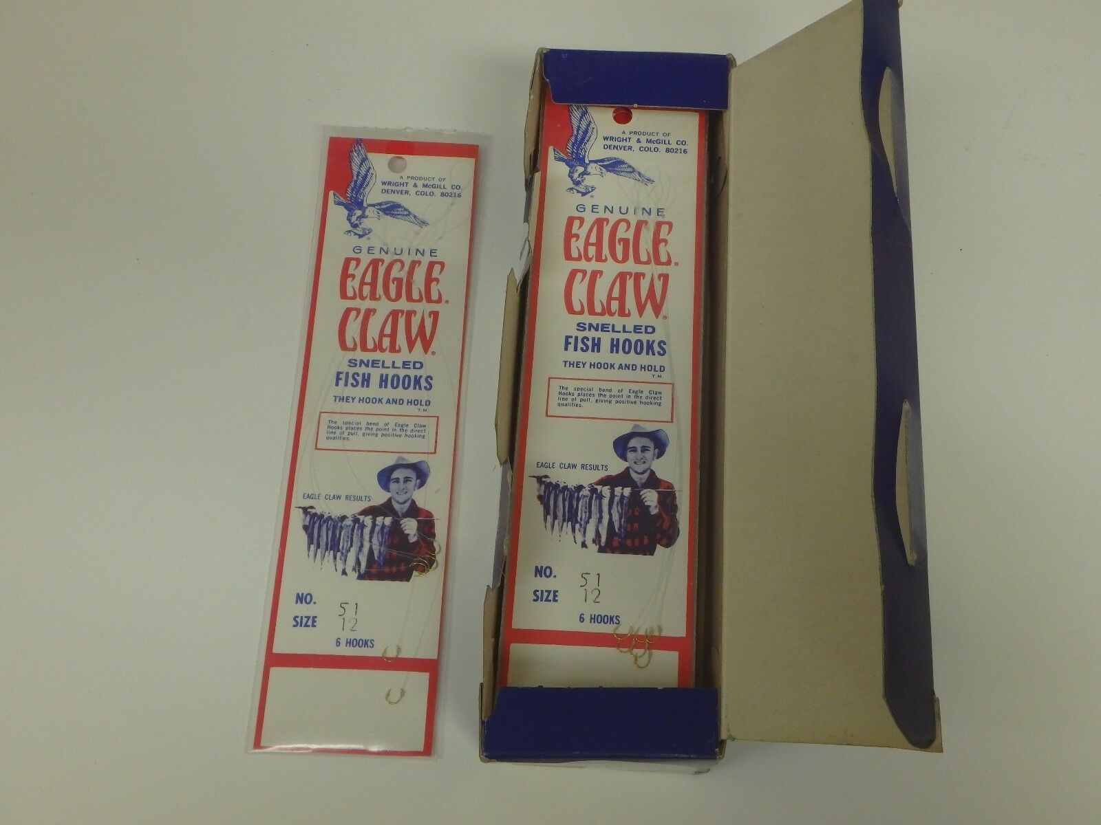 Vintage Eagle Claw Wright Dealer Box Grootte 12 Snelled Fishing goud Fishing Hooks
