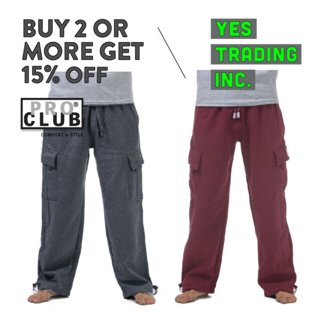 selected material customers first arrives PROCLUB PRO CLUB MEN'S HEAVYWEIGHT CARGO SWEATPANTS HEAVY JOGGERS BIG AND  TALL