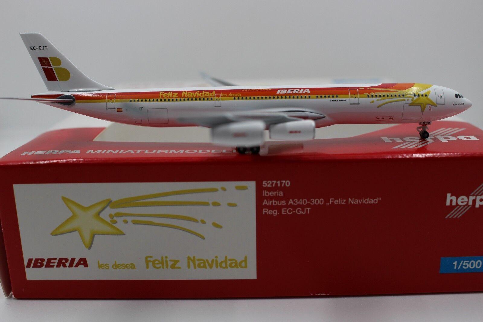 Herpa Wings 1 500 Iberia AIRBUS a340-300 Feliz Navidad (527170) Limited Edition
