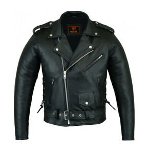 Men-039-s-Natural-Cowhide-Motorcycle-Biker-Rider-Zipper-Armored-Side-Laced-Jacket