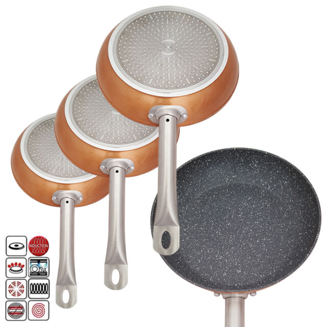 3x Non Stick Aluminium Copper Marble Coated Frying Fry Pan Induction Hob Cooking