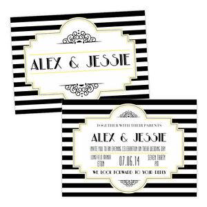 Personalised-day-evening-wedding-invitations-BLACK-WHITE-1920-039-S-ART-DECO-FREE-EN