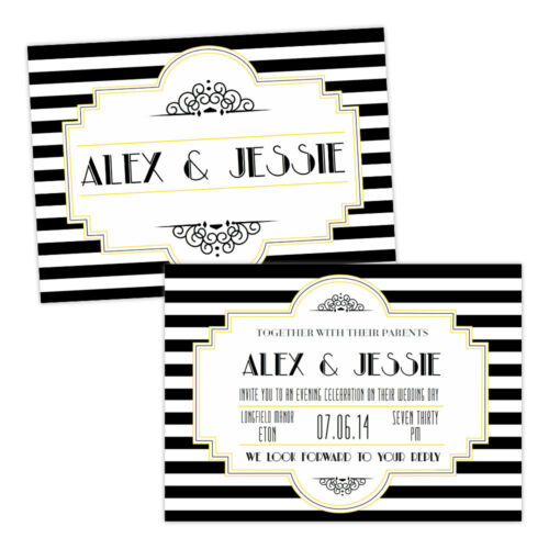 Personalised day//evening wedding invitations BLACK WHITE 1920/'S ART DECO FREE EN