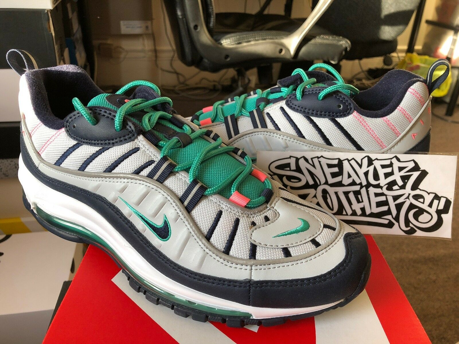 Nike Air Max 98 2018 QS South Beach Pure Platinum Obsidian Green Men 640744-005