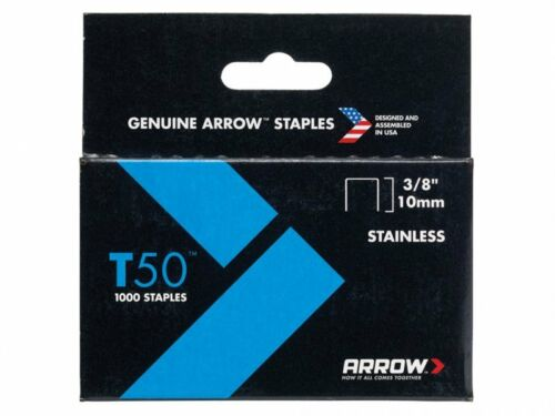 Stainless Steel 3//8in Arrow T50 Staples Box 1000
