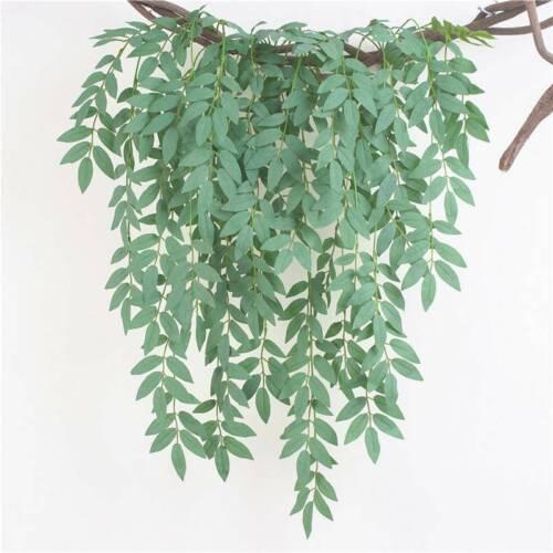 Artificial Trailing Hanging Basket Greenery Leaves Rose Ivy Leaf Fern Foliage W