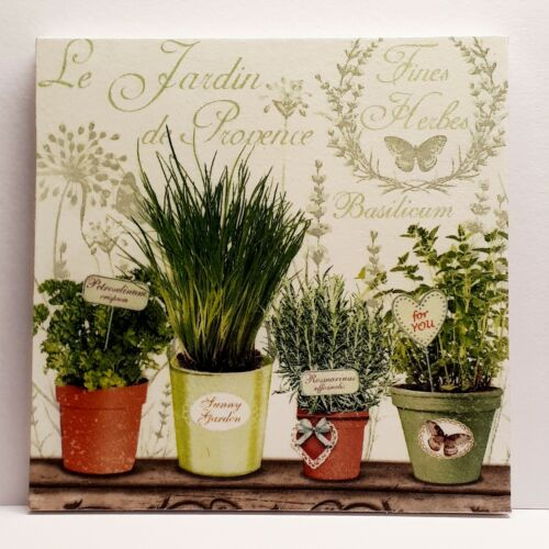 """French Herb Planters Handmade Kitchen Wall Picture Plaque 6 x 6/"""""""
