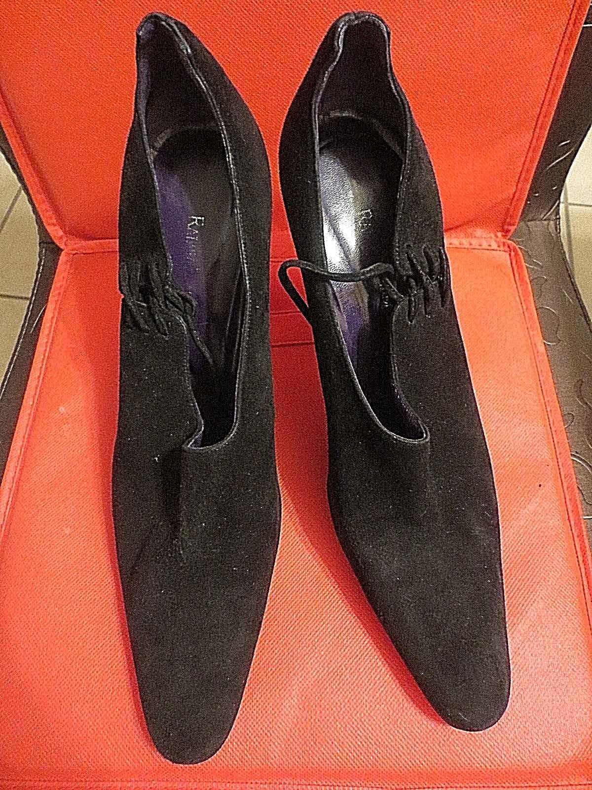 RALPH LAUREN violet Label en daim noir classique Escarpins chaussures Taille 9.5 B
