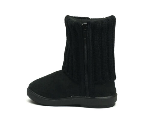 New Kids Boots Toddler Girls Cute Rhinestone Faux Fur Suede Knitting Shoes-2023