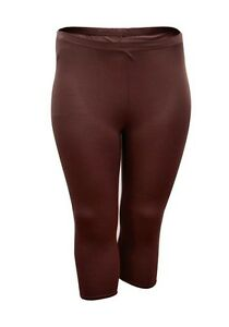 f9c227da21d3e6 Womens Cropped Leggings Size 18 20 22 24 New Ladies Brown ...