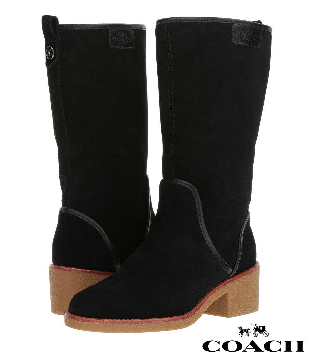 COACH Palmer Women's Boots Leather Ankle Booties Designer Comfort Winter NIB