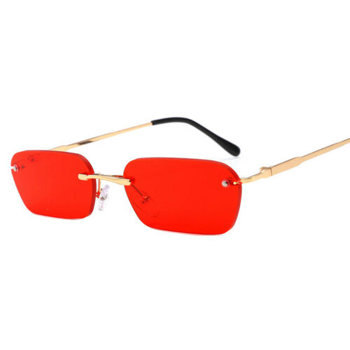 Small Rectangle Slim Rimless Shade Sunglasses Men Women Designer Minimal GlaPF