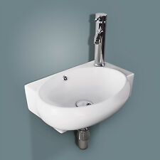 Bathroom Ceramic Vessel Sink Wall Mount Faucet on Right Chrome