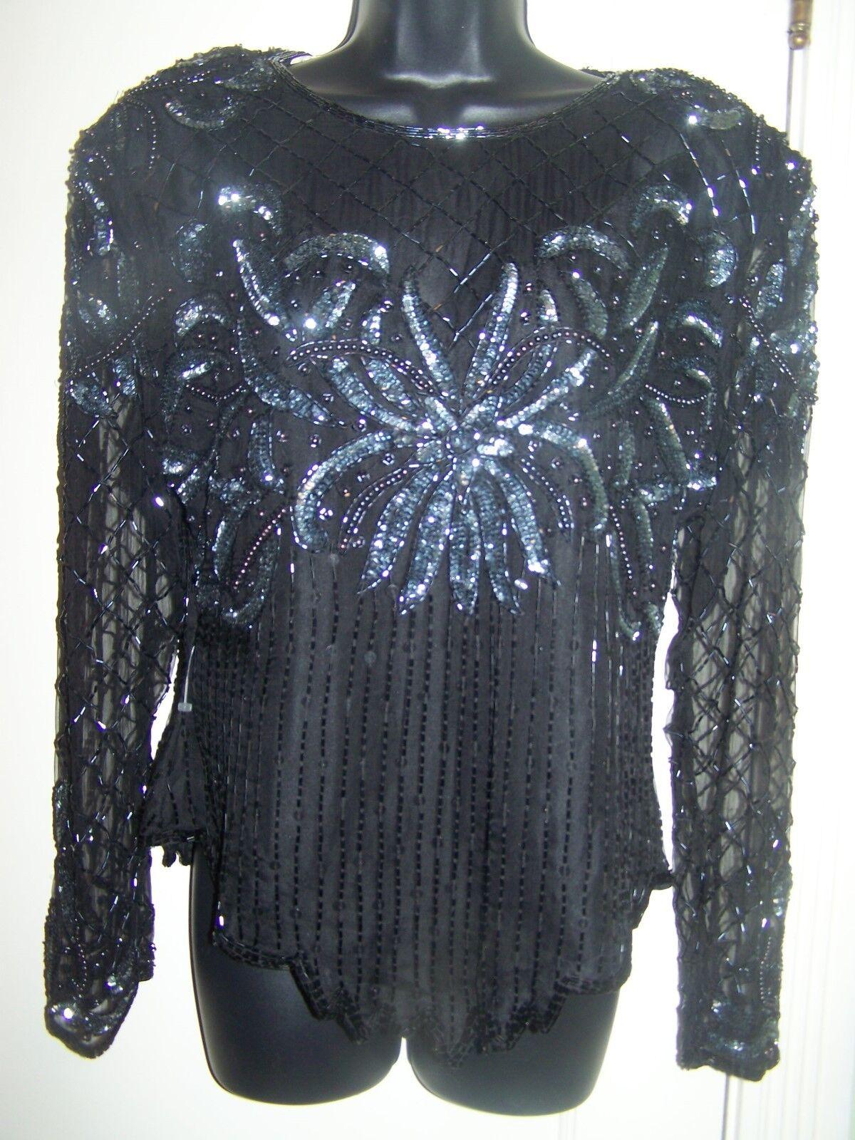 Laurence Kazar Vintage Sequin schwarz Top Party Formal Silk Large NWT H2bb