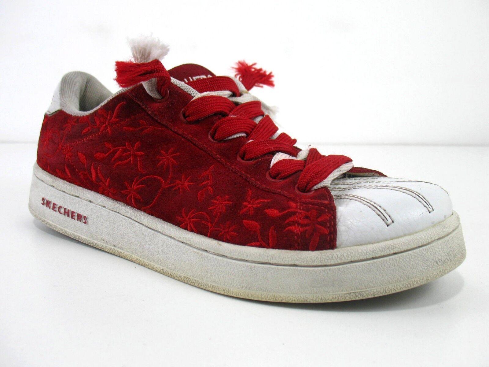 Skechers-Rojo Gamuza Cordones dos Diseño de de de Flores-Raro Sn 1623-para mujer 9  el estilo clásico