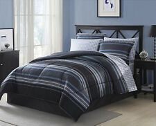 black grey white blue striped plaid 6 piece comforter bedding set twin size