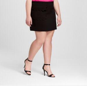 Sporting Victoria Beckham Target 3x Black Mod Twill Skirt Plus Size Scallop Trim New Women's Clothing