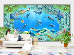 3D Seaweed Dolphin 883 Wallpaper Mural Paper Wall Print Wallpaper Murals UK